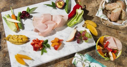 Salade de fruits et légumes avec mayonnaise aux fruits de la passion