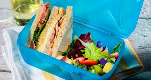 CLUB SANDWICH WITH SUMMER FRUIT SALAD