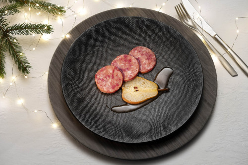 Cotechino sausage with pears caramelised in vanilla