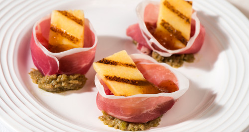 PARMA HAM ROSES WITH OLIVE PATÉ AND GRILLED POLENTA
