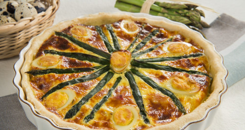 Quiche with asparagus, hard-boiled quail eggs, and diced smoked bacon