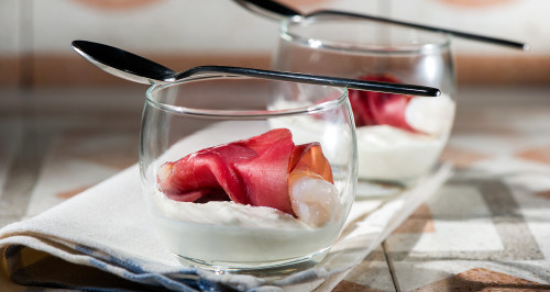 RED PRAWN WRAPPED IN BRESAOLA ON A BURRATA BASE