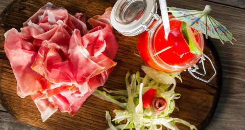 ARMA HAM, PUNTARELLE AND ANCHOVIES SALAD, CARMAGNOLA RED PEPPER GAZPACHO