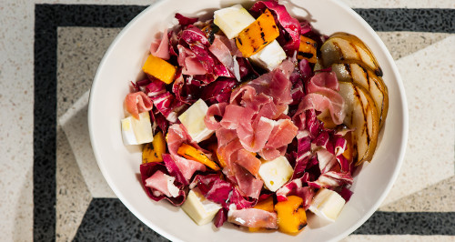 SALAD WITH RADICCHIO, GRILLED PUMPKIN AND PEARS, BRIE CHEESE AND PARMA HAM