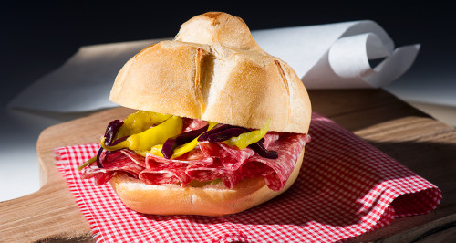 MICHETTA BREAD, SALAME DI MILANO, LOMBARD PICKLE PEPPERS AND COOKED GRAPE MUST