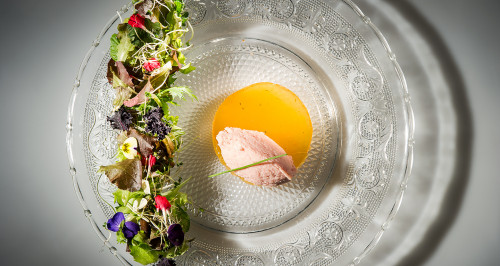 COOKED HAM MOUSSE WITH NUTMEG, COGNAC GELATINE AND MIXED-LEAF SALAD