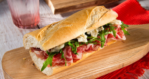 Baguette, coppa ham, sweet gorgonzola and rocket