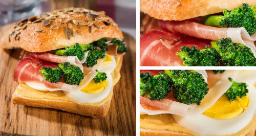 SANDWICH WITH SPECK, BROCCOLI, HARD-BOILED EGG AND MUSTARD