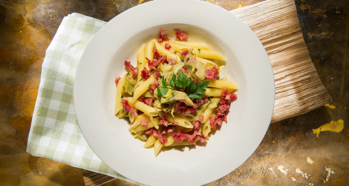 PENNE WITH ARTICHOKES AND COTECHINO