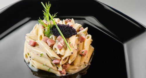 PENNE ALLA VODKA WITH CUBES OF COOKED HAM, LUMPFISH EGGS AND CHIVES