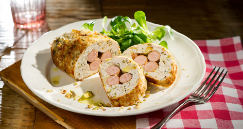 Turkey polpettone with frankfurter and pistachios