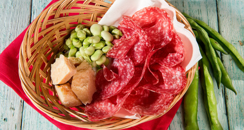 BROAD BEANS, SALAMI AND PECORINO CHEESE