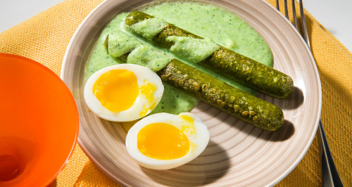 VEGETARIAN WUOI WITH SOFT EGG AND BROCCOLI SAUCE