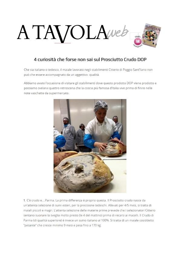 Un servizio speciale sul luogo d'origine del Prosciutto di Parma Citterio su ATavolaweb
