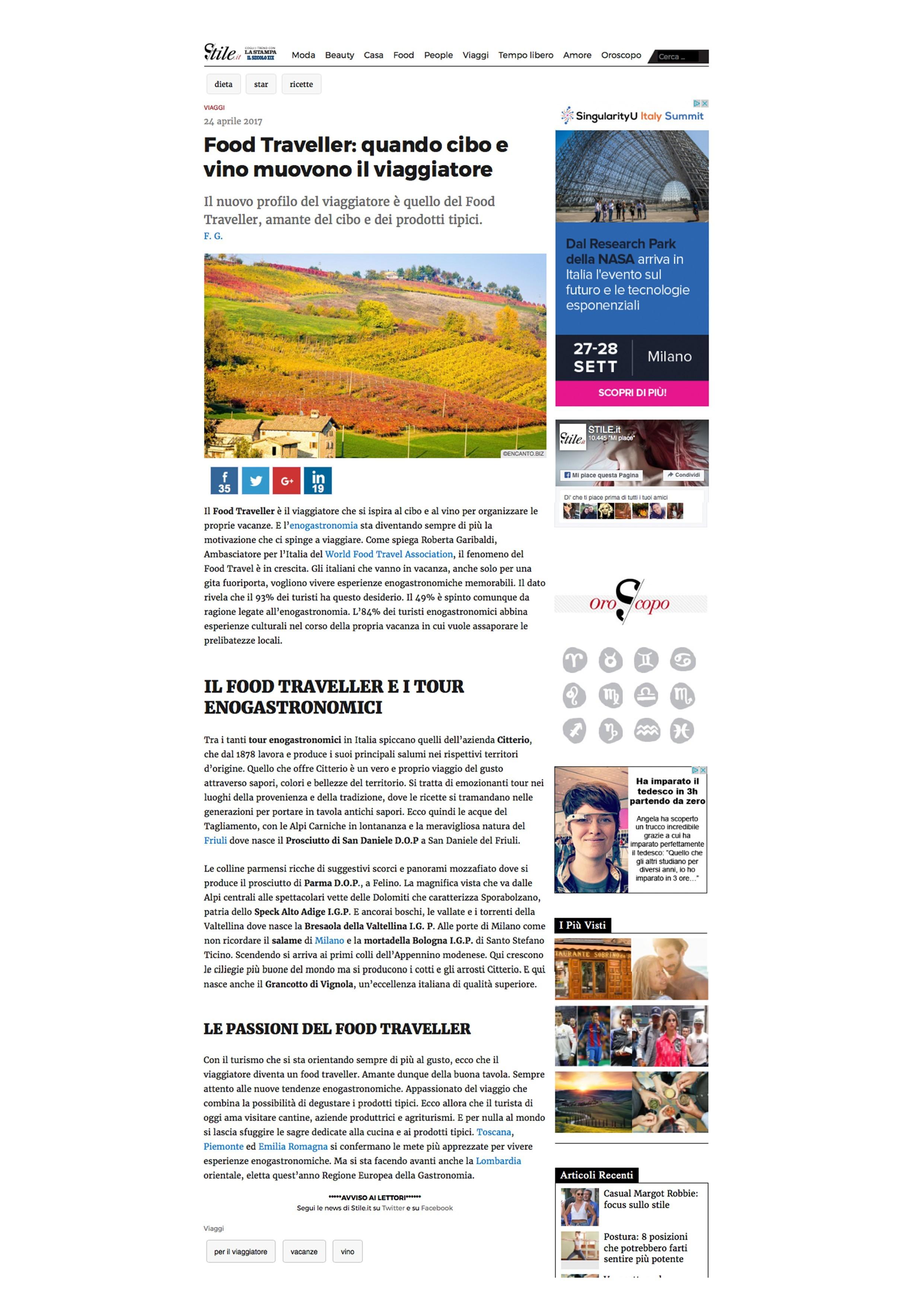 Citterio Bio sul canale di lifestyle della LaStampa.it