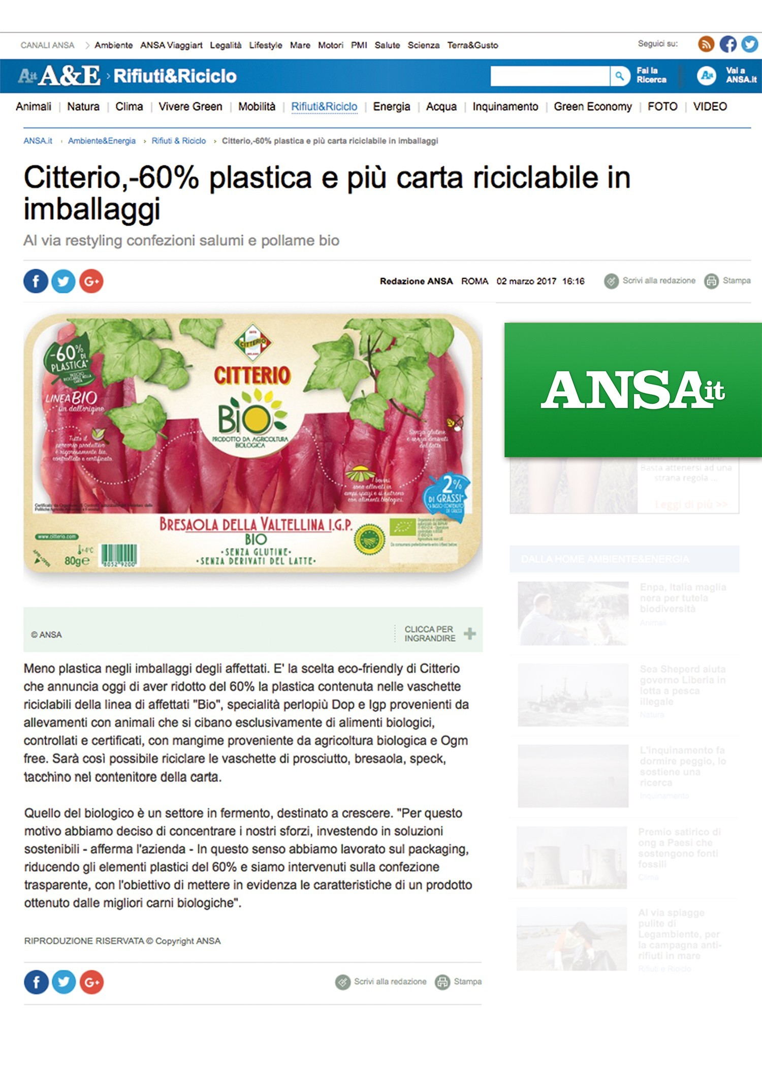 CITTERIO BIO SULL'ANSA