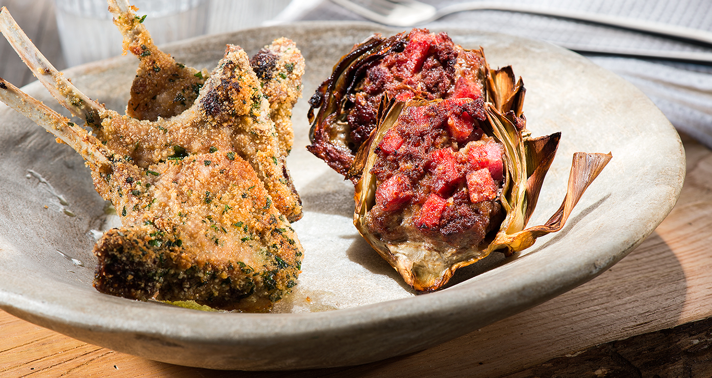 LAMB CHOPS IN AROMATIC BREADCRUMBS, STUFFED ARTICHOKES WITH SALAMI CUBES
