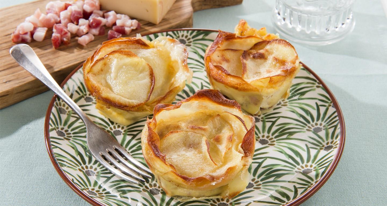 Kartoffelnester mit geräucherten Pancetta-Würfeln
