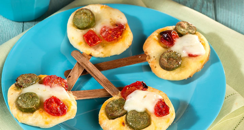 Pizzette lollipops con wurstel vegetali