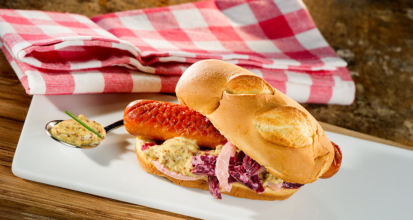 TOASTED BRIOCHE, FRANKFURTER, POTATO AND BEETROOT SALAD, SWEET AND SOUR MUSTARD SAUCE