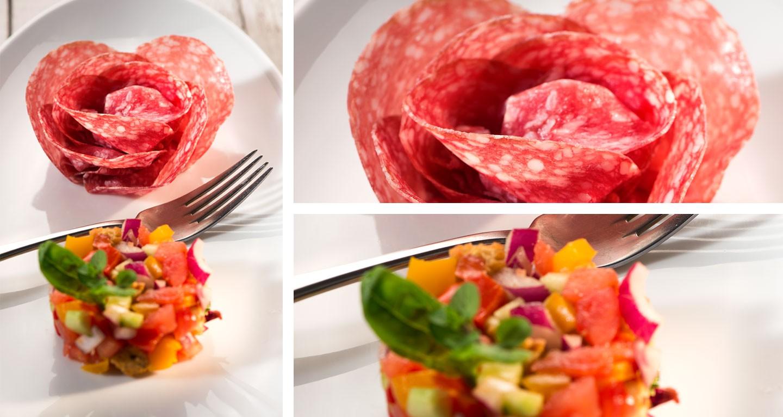 Panzanella di cetrioli, peperone, cipollotto rosso di Tropea, pomodoro e rosa di salame