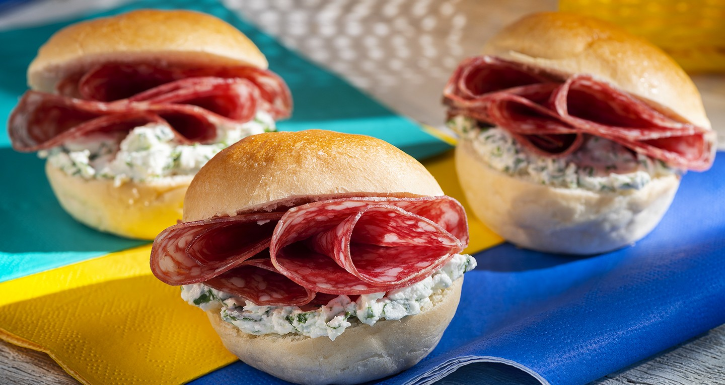 Bread roll salami sandwiches