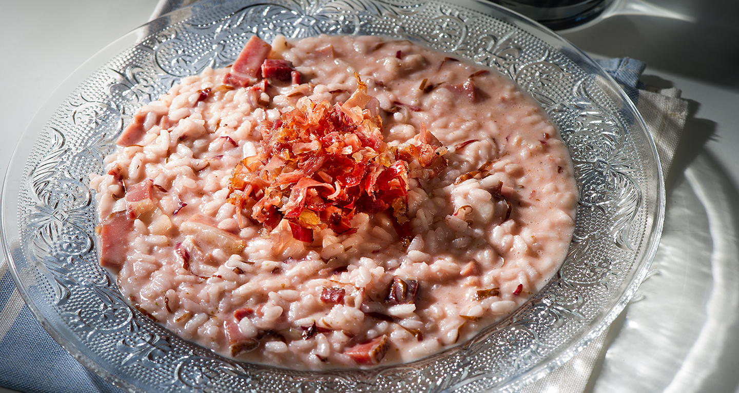 SPECK AND LATE RADICCHIO RISOTTO WITH ASIAGO CHEESE